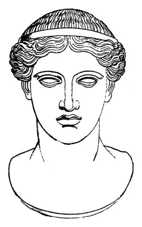 This is the picture of Hera. In Greek mythology, she is known as the goddess of marriage and birth, vintage line drawing or engraving illustration. Ilustração
