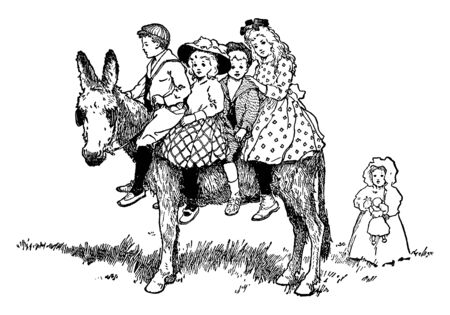 Donkey Ride where four children riding a donkey, vintage line drawing or engraving illustration. Иллюстрация