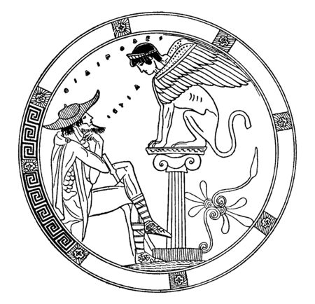 This frame has 2 psyche. One is sitting on a stone pole and it looks like a creature and has a wingspan. The other person sitting in front of him looking at him. He has a cap on his head, vintage line drawing or engraving illustration.