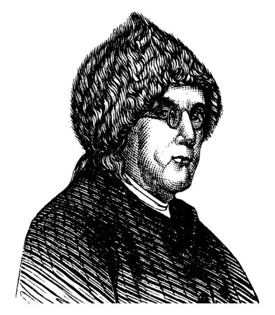 Benjamin Franklin, 1706-1790, he was  polymath, author, printer, politician, inventor of the franklin stove, lighting rod and bifocal glasses, and one of the founding fathers of the United States, vintage line drawing or engraving illustration