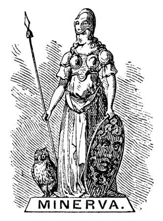 A standing statue of Greek Roman Goddess of War with a Owl, vintage line drawing or engraving illustration. Illustration