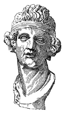 In this image are Head of Dionysus, vintage line drawing or engraving illustration.