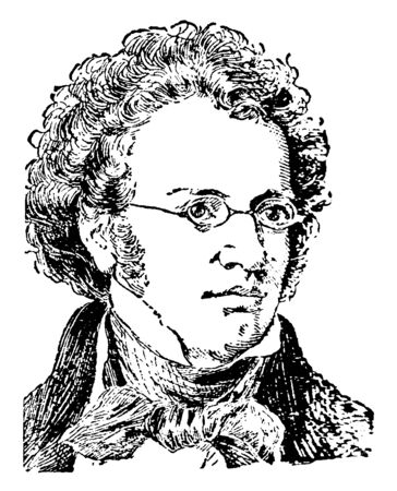 Franz Schubert, 1797-1828, he was an Austrian composer, vintage line drawing or engraving illustration