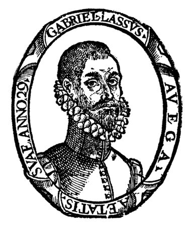 Gabriel Lasso de La Vega, he was a companion of Cortes and general of the Canary Islands, vintage line drawing or engraving illustration Ilustração