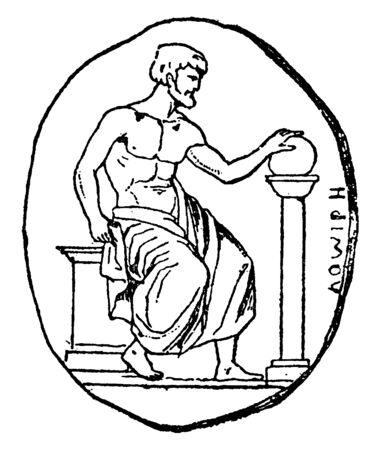 Pythagoras, he was a Greek philosopher, mathematician, and putative founder of the Pythagoreanism movement, vintage line drawing or engraving illustration Ilustração
