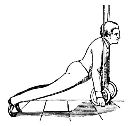 Boy exercising on ring by pulling rope down with hands and lying on toes, vintage line drawing or engraving illustration.