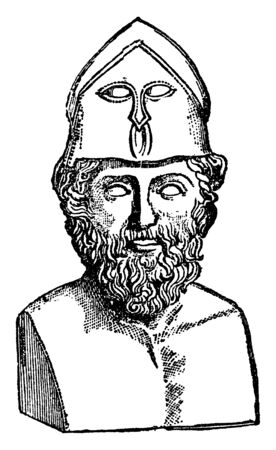 Themistocles, he was an Athenian politician and general, vintage line drawing or engraving illustration