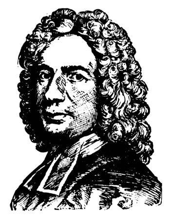 Isaac Watts, 1674-1748, he was an English Christian minister, hymn writer, theologian, and logician, vintage line drawing or engraving illustration