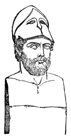Bust of Pericles, c. 495-429 BC, he was a prominent and influential Greek statesman, orator and general of Athens during the golden age, vintage line drawing or engraving illustration