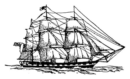 Newcastle which is an East Indiaman, vintage line drawing or engraving illustration.