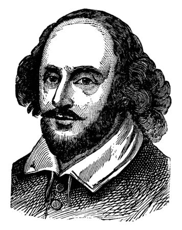 William Shakespeare, 1564-1616, he was an English poet, playwright, actor, and the greatest writer in the English language, famous as the Englands national poet and the Bard of Avon, vintage line drawing or engraving illustration