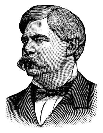 Hon. Zebulon B. Vance, 1830-1894, he was a confederate military officer and governor of North Carolina, vintage line drawing or engraving illustration
