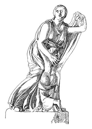 A statue of Niobe with her youngest daughter, vintage line drawing or engraving illustration.