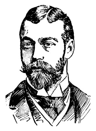 Duke of Cornwall and York, George V, 1865-1936, he was the king of the United Kingdom and the British dominions, and emperor of India, vintage line drawing or engraving illustration