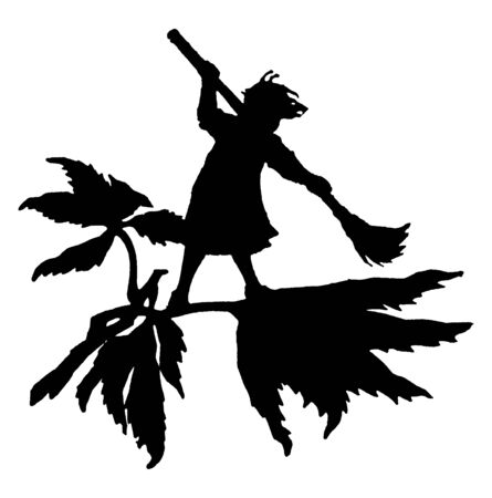 Silhouette of fairy sweeping on a leaf, vintage line drawing or engraving illustration Çizim