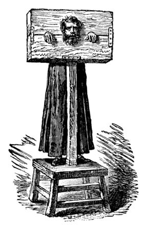 To punish a criminal, his head and hands are strapped in a wooden frame, vintage line drawing or engraving illustration.