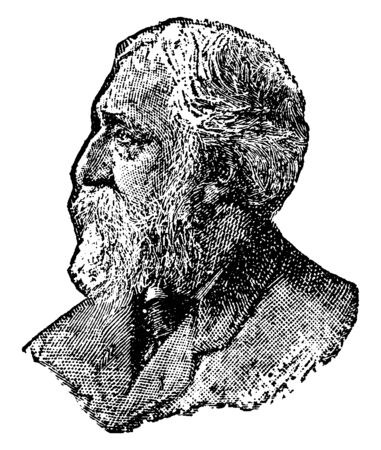 Charles Warner, 1829-1900, he was an American essayist and novelist, vintage line drawing or engraving illustration
