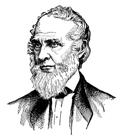 John Greenleaf Whittier, 1807-1892, he was an American Quaker poet and advocate of the abolition of slavery in the United States, vintage line drawing or engraving illustration