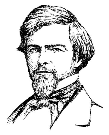 Isaac I. Stevens, 1818-1862, he was the first governor of Washington territory, vintage line drawing or engraving illustration 일러스트