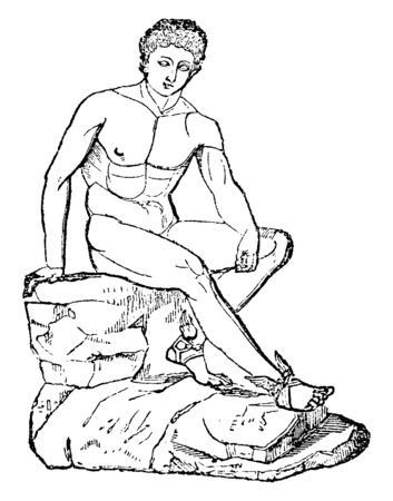 A statue of Hermes (Mercury), the messenger of gods also known as Olympian god of Greek religion and mythology, vintage line drawing or engraving illustration.