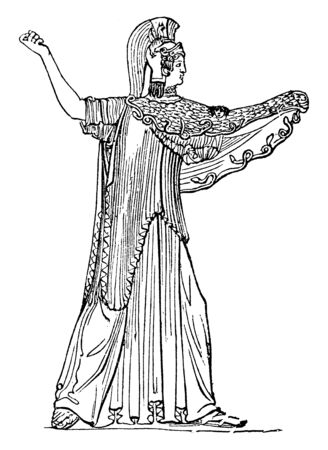 According to ancient mythology, the protection used by Jupiter was the skin of the goat Amalthea, who has nursed him in his childhood. The following represents Minerva with the Aegis, vintage line drawing or engraving illustration. Illustration
