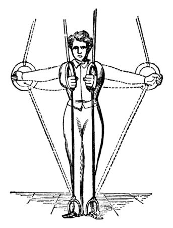Boy exercising on ring by holding it with hands and legs. Pulling it with hands in shoulder line and front, vintage line drawing or engraving illustration.