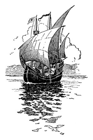 Cartier Ship was a Breton explorer who claimed what is now Canada for France, vintage line drawing or engraving illustration.