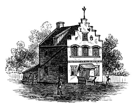 The image illustrates the Dutch house, which has a birds structure at the pinnacle of house and has the chimney on the roof, vintage line drawing or engraving illustration. Illustration
