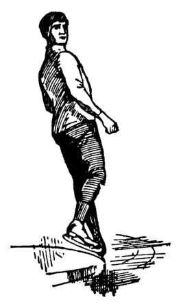 A picture of skater is showing the movement. His left leg is in front, right foot is in air and he is looking at his right, vintage line drawing or engraving illustration.