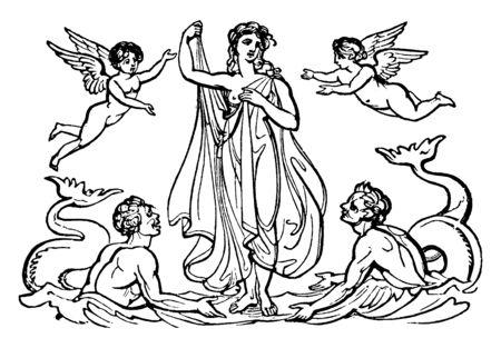 Une ancienne photo de Vénus, la déesse romaine de l'amour et de la beauté debout dans une rivière avec quelques préposés, un dessin de ligne vintage ou une illustration de gravure.