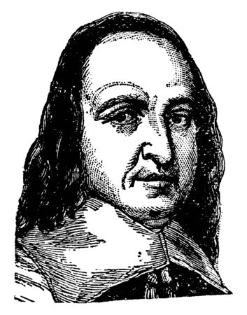 Peter Stuyvesant, he was seventh director-general of New Amsterdam, vintage line drawing or engraving illustration