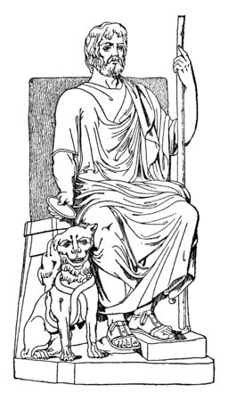 In this picture showing The God of the Dead, with a dog he was sitting on the chair, vintage line drawing or engraving illustration.