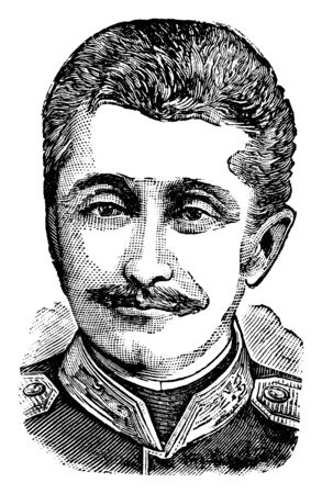 Nicholas of Mingrelia, he was prince of Mingrelia and colonel in the Russian army, vintage line drawing or engraving illustration