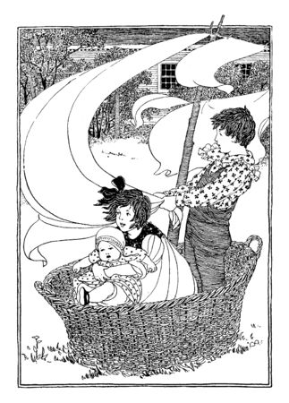 Children Play Sailing where a brother sister and baby create a pretend sail boat out of a laundry basket and linens, vintage line drawing or engraving illustration.