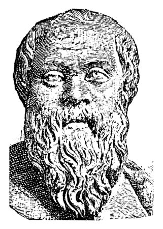 Bust of Socrates, 469-399 BC, he was a classical Greek philosopher, vintage line drawing or engraving illustration Ilustracja