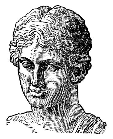 Sappho was an archaic Greek poet, vintage line drawing or engraving illustration