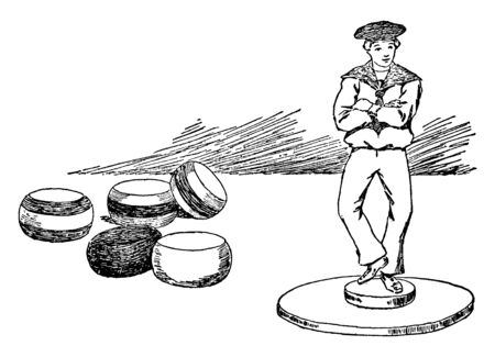 In this picture this is a game which consist of figure of a sailor cast in metal and a number of colored balls, and three drawing-pins, vintage line drawing or engraving illustration. 向量圖像