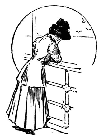 A woman weeping, vintage line drawing or engraving illustration Illustration