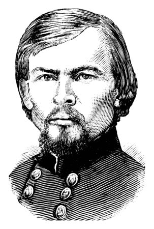 Franz Sigel, 1824-1902, he was a German military officer, revolutionist, immigrant to the United States, politician, and union major general in the American civil war, vintage line drawing or engraving illustration