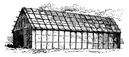 This is the long House of the Iroquois Indians. This is a long big house where up to fifty families would live, vintage line drawing or engraving illustration.