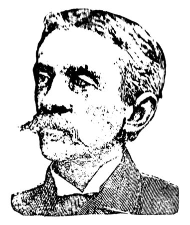 Francis Stockton, 1834-1902, he was an American author and humourist, vintage line drawing or engraving illustration  イラスト・ベクター素材