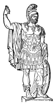 Pyrrhus, he was a Greek general and statesman of the Hellenistic period and the king of Epirus, vintage line drawing or engraving illustration