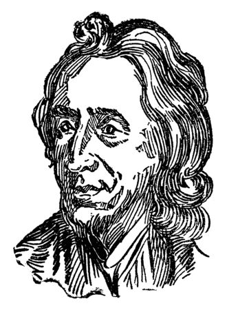 John Locke, 1632-1704, he was an English philosopher and physician, vintage line drawing or engraving illustration