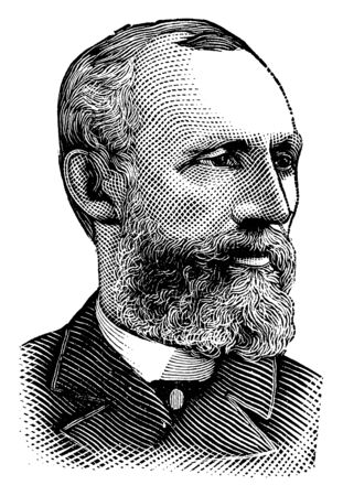 William M. Springer, 1836-1903, he was an American politician and United States representative from Illinois, vintage line drawing or engraving illustration