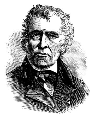 Zachary Taylor, 1784-1850, he was the president of the United States from 1849 to 1850, vintage line drawing or engraving illustration Çizim