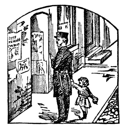 It looks like a policeman has identified a lost girl and he is taking her to the reward house or police station to take further actions, vintage line drawing or engraving illustration.