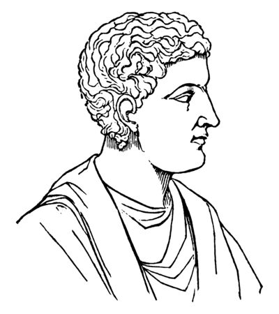 Horace, he was the leading Roman lyric poet, vintage line drawing or engraving illustration