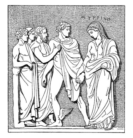 This is a image of Hermes. There is a group of human being. One women is holding a mans hand & she is in sorrow, vintage line drawing or engraving illustration.