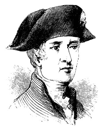 Count Mathieu Dumas, 1753-1837, he was a French general, vintage line drawing or engraving illustration Reklamní fotografie - 133432408