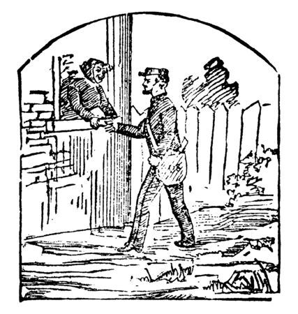 A postman is delivering the letter to a lady, vintage line drawing or engraving illustration.